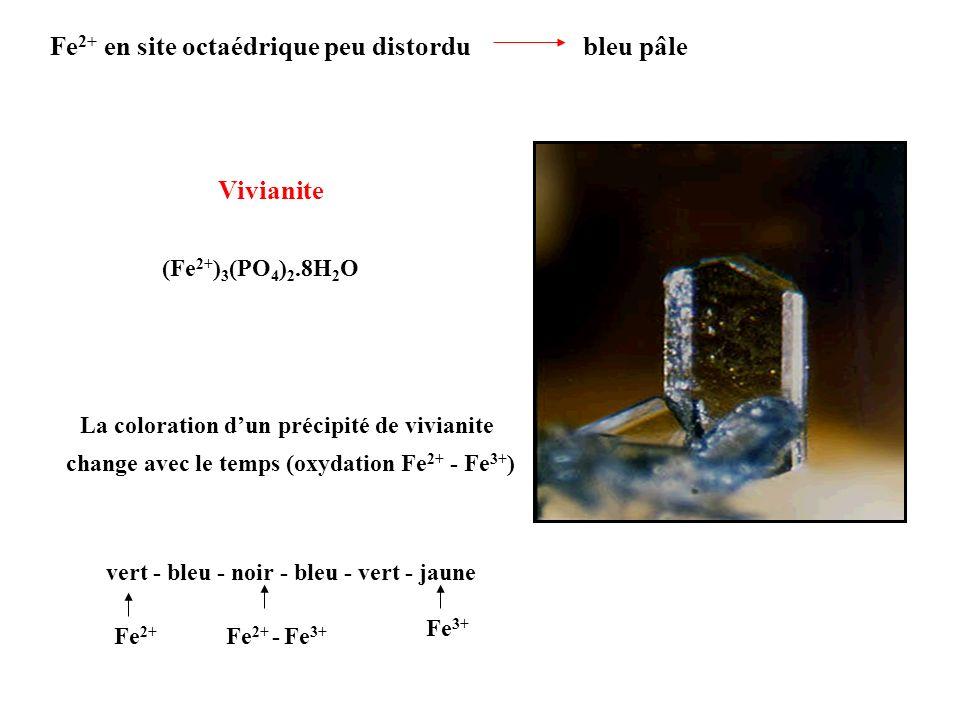 Fe2+ en site octaédrique peu distordu bleu pâle