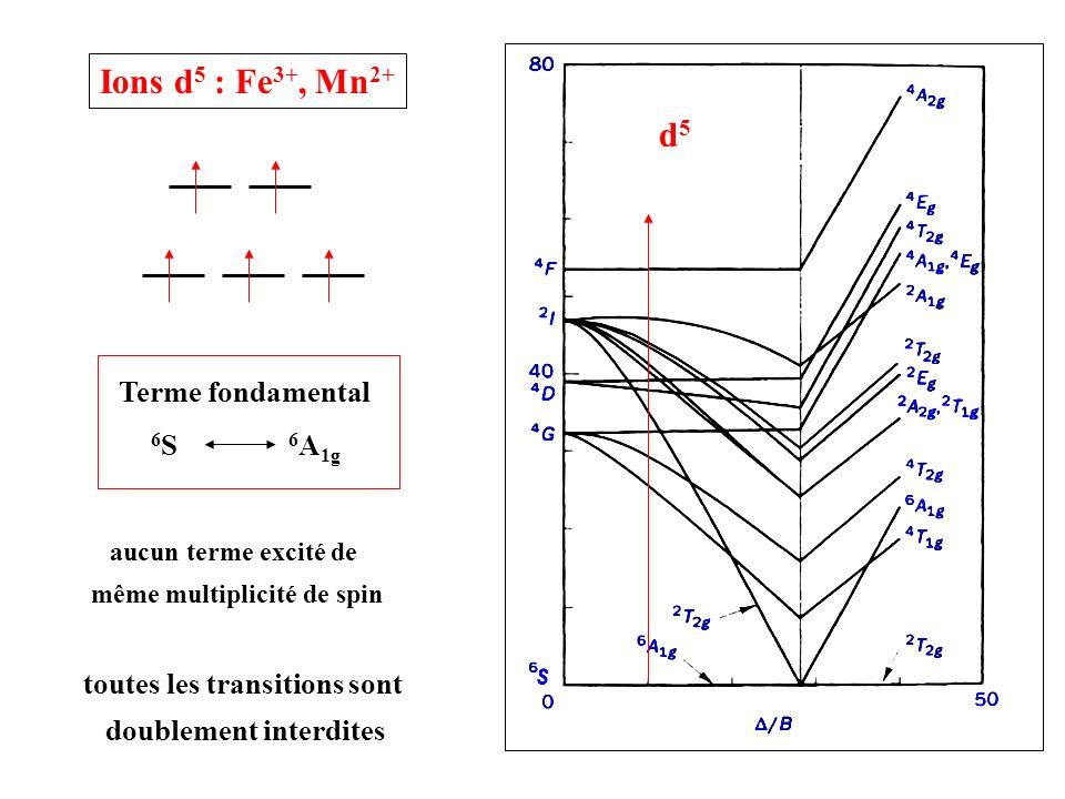 Ions d5 : Fe3+, Mn2+ d5 Terme fondamental 6S 6A1g