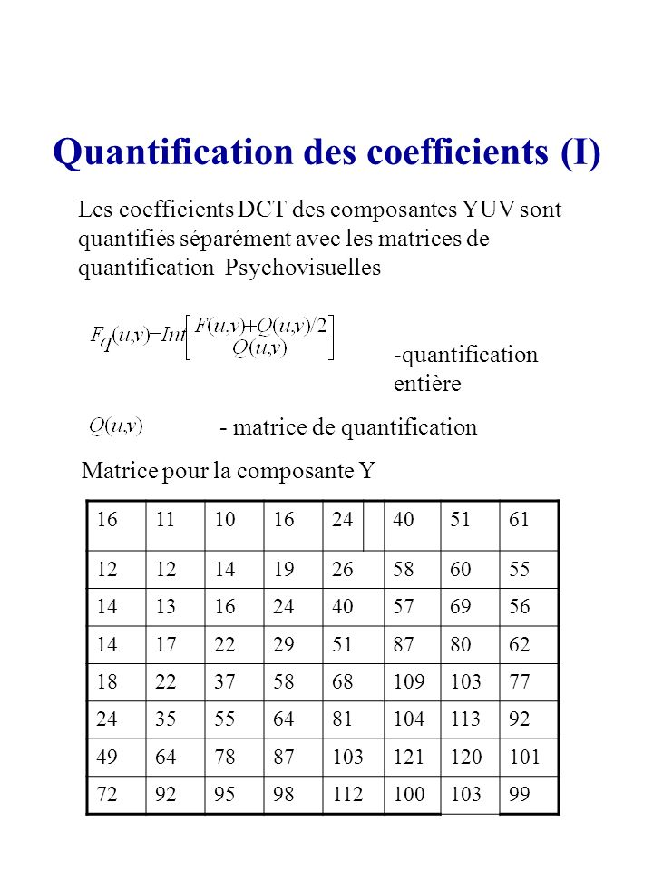 Quantification des coefficients (I)