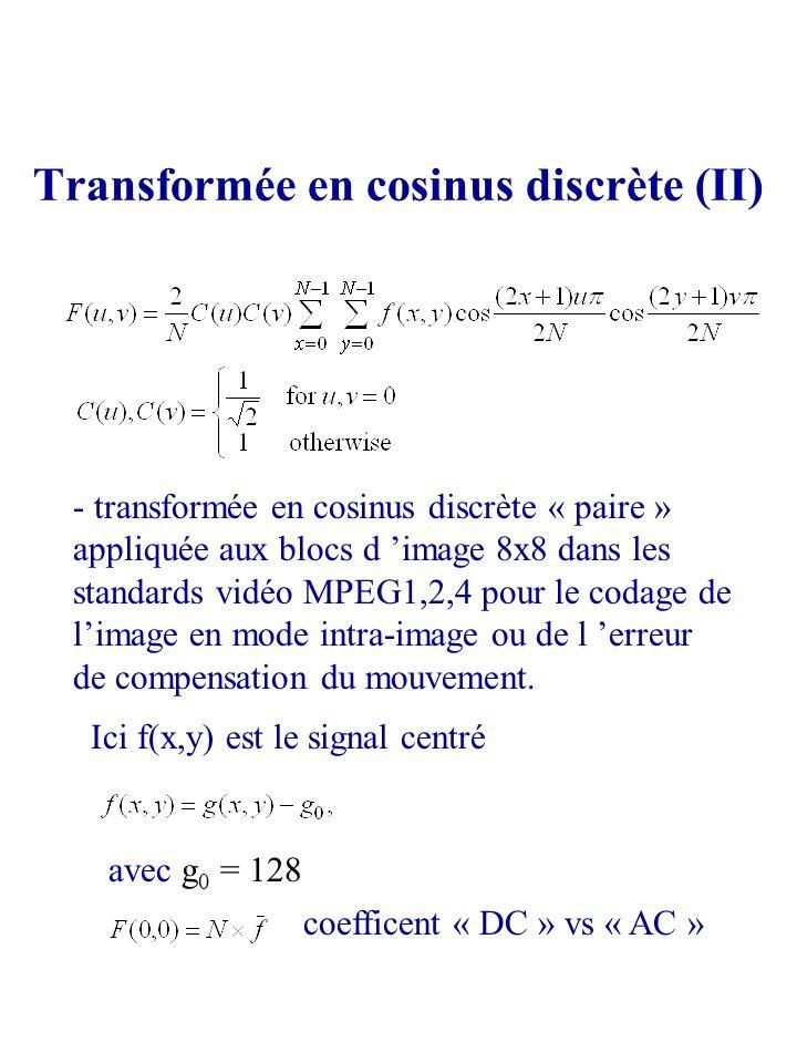 Transformée en cosinus discrète (II)