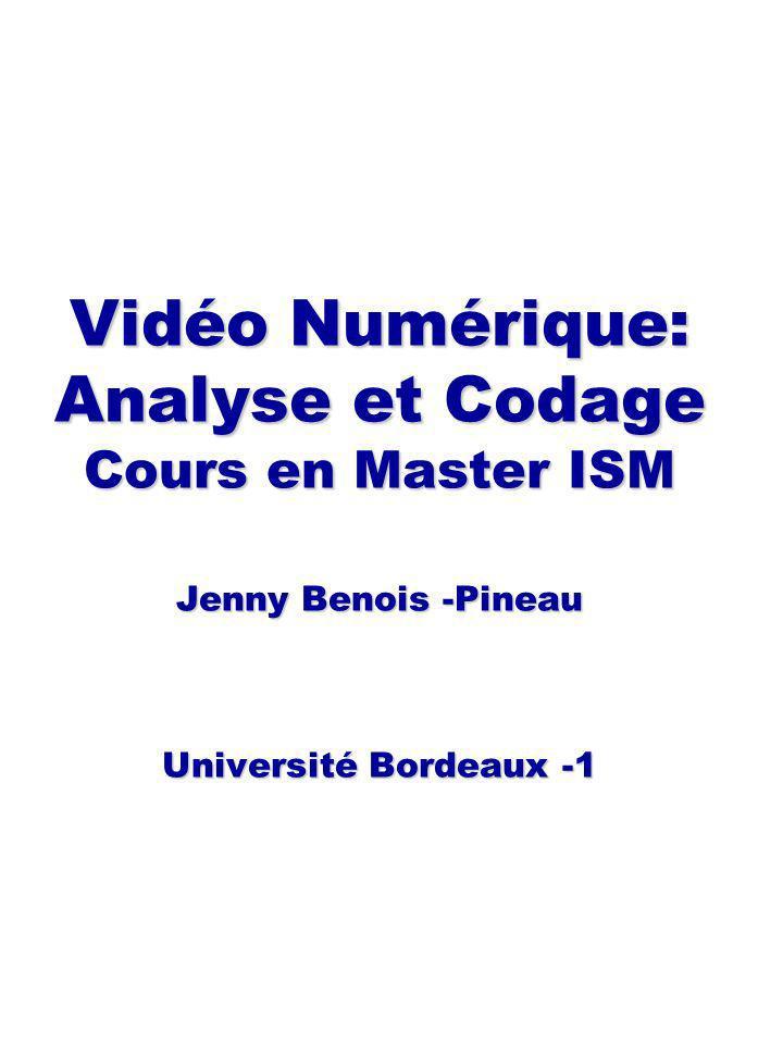 Vidéo Numérique: Analyse et Codage Cours en Master ISM Jenny Benois -Pineau Université Bordeaux -1