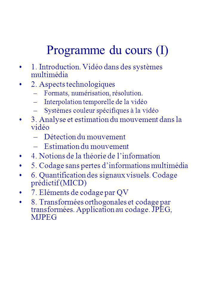 Programme du cours (I) 1. Introduction. Vidéo dans des systèmes multimédia. 2. Aspects technologiques.