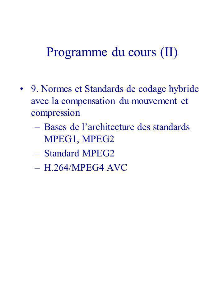 Programme du cours (II)
