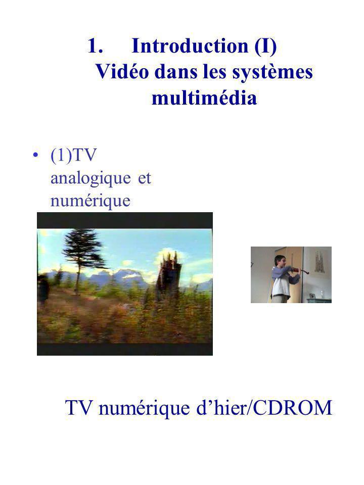 Introduction (I) Vidéo dans les systèmes multimédia