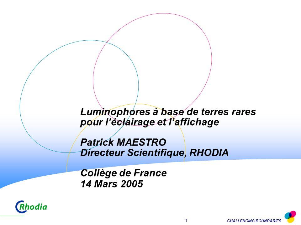 Luminophores à base de terres rares pour l'éclairage et l'affichage Patrick MAESTRO Directeur Scientifique, RHODIA Collège de France 14 Mars 2005