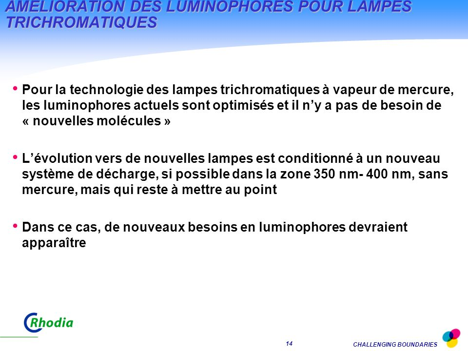 ÂMELIORATION DES LUMINOPHORES POUR LAMPES TRICHROMATIQUES