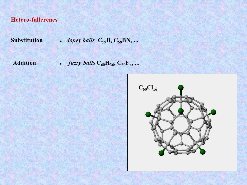 Hétéro-fullerènes dopey balls C59B, C58BN, ... fuzzy balls C60H36, C60Fn, ... Substitution. Addition.