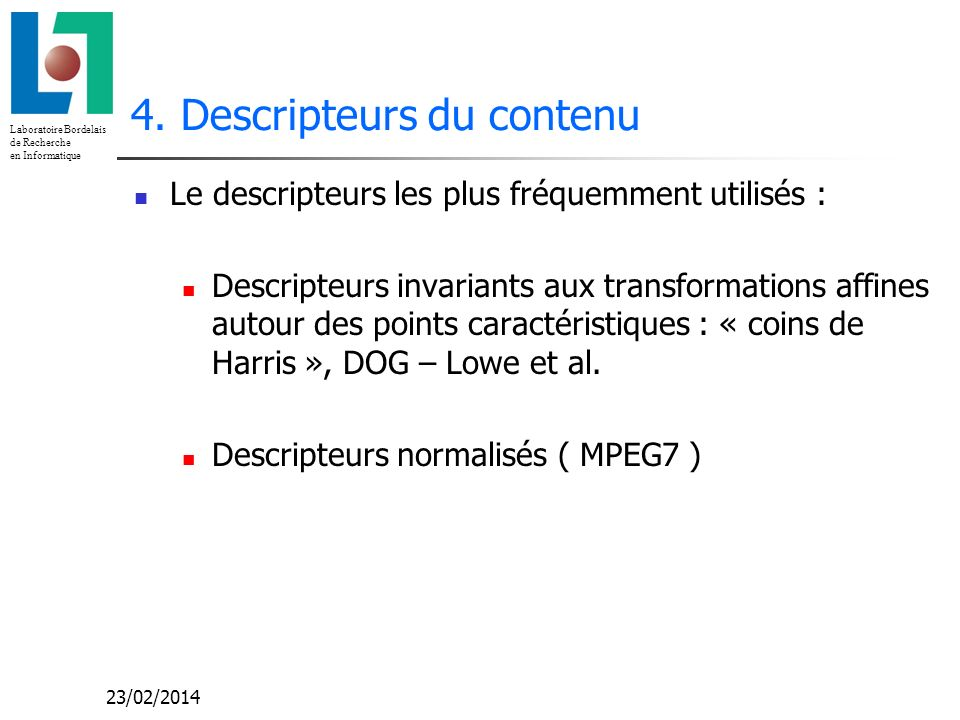 4. Descripteurs du contenu