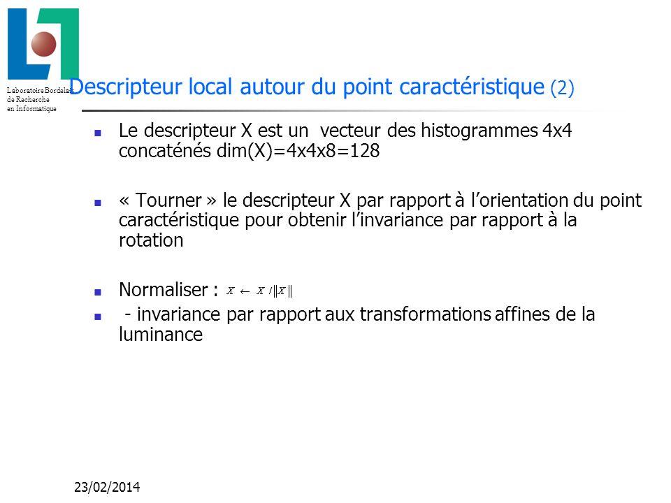 Descripteur local autour du point caractéristique (2)