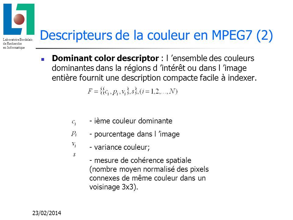 Descripteurs de la couleur en MPEG7 (2)