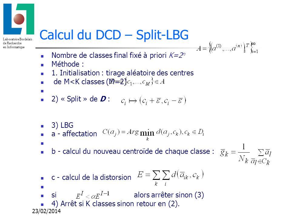 Calcul du DCD – Split-LBG