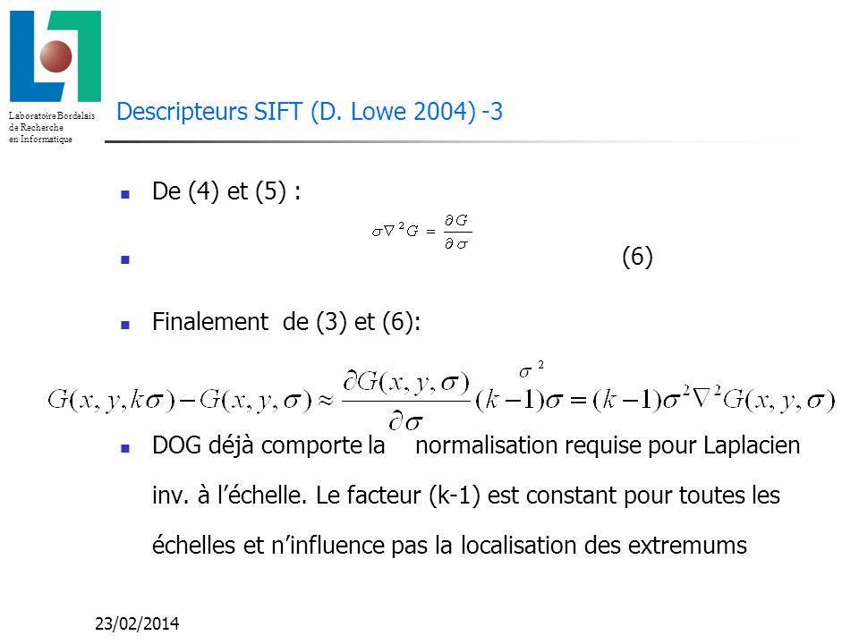 Descripteurs SIFT (D. Lowe 2004) -3