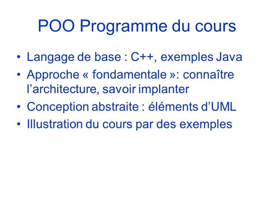 POO Programme du cours Langage de base : C++, exemples Java