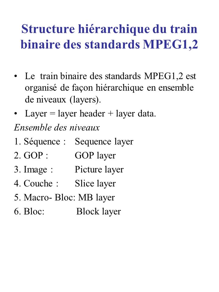 Structure hiérarchique du train binaire des standards MPEG1,2