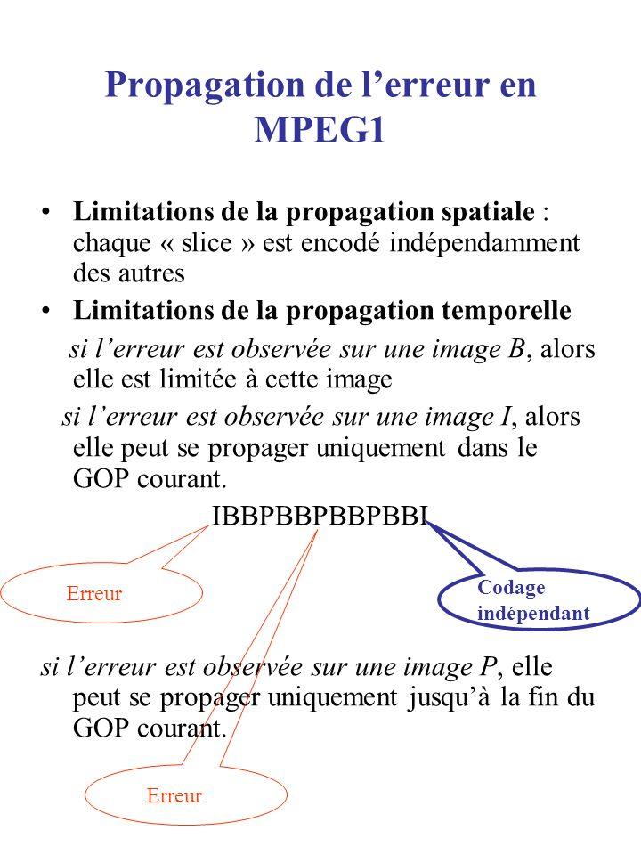 Propagation de l'erreur en MPEG1