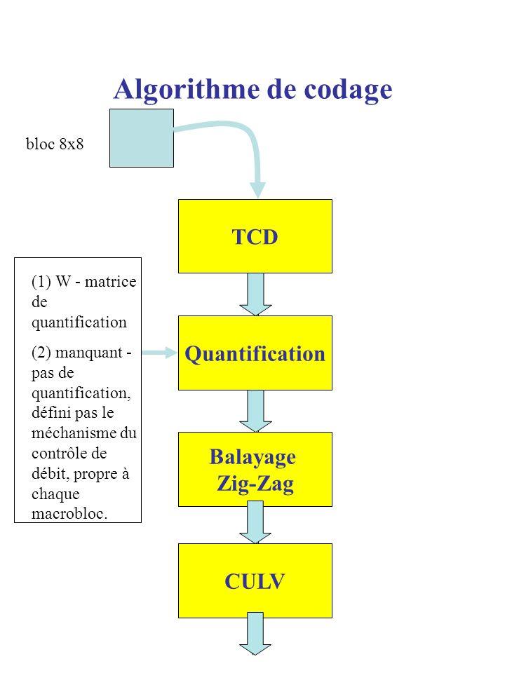 Algorithme de codage TCD Quantification Balayage Zig-Zag CULV bloc 8x8