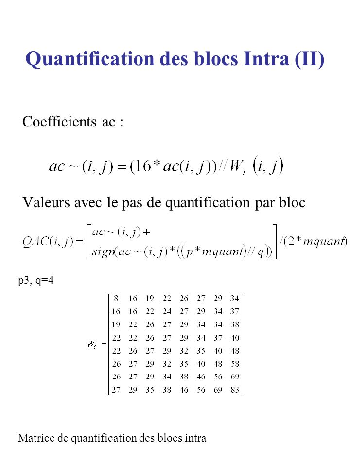 Quantification des blocs Intra (II)