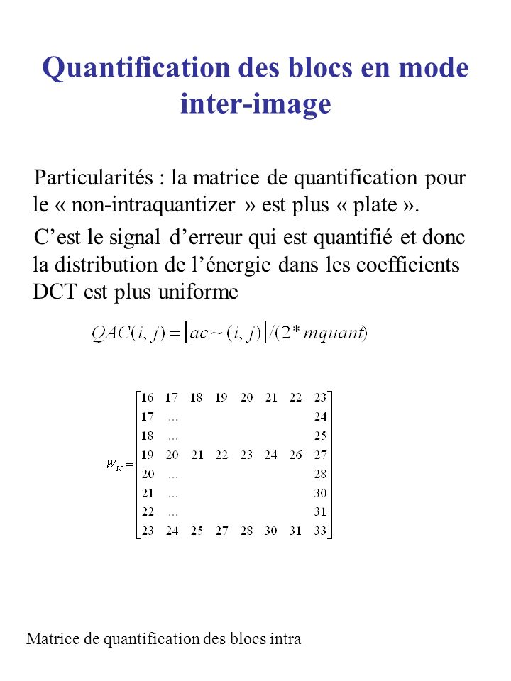 Quantification des blocs en mode inter-image