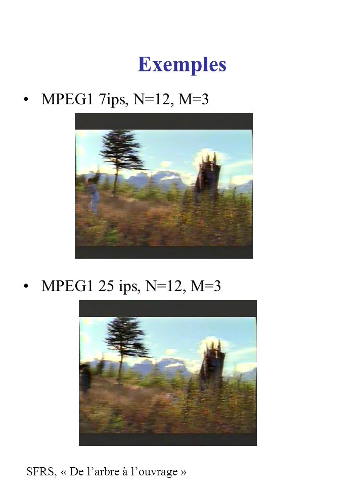 Exemples MPEG1 7ips, N=12, M=3 MPEG1 25 ips, N=12, M=3