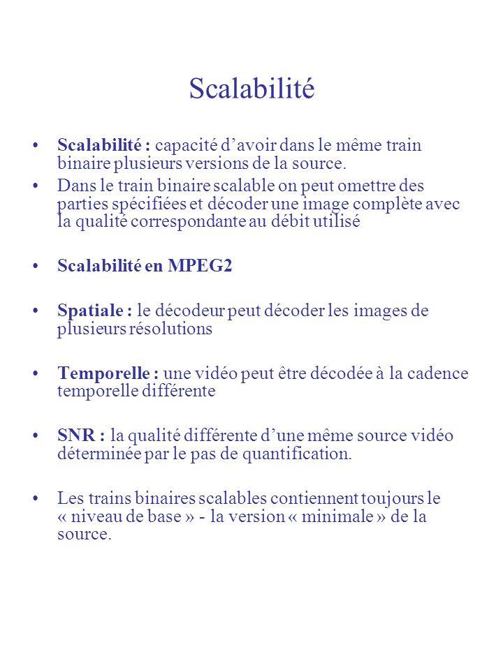 Scalabilité Scalabilité : capacité d'avoir dans le même train binaire plusieurs versions de la source.