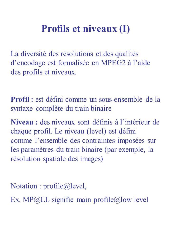Profils et niveaux (I) La diversité des résolutions et des qualités d'encodage est formalisée en MPEG2 à l'aide des profils et niveaux.