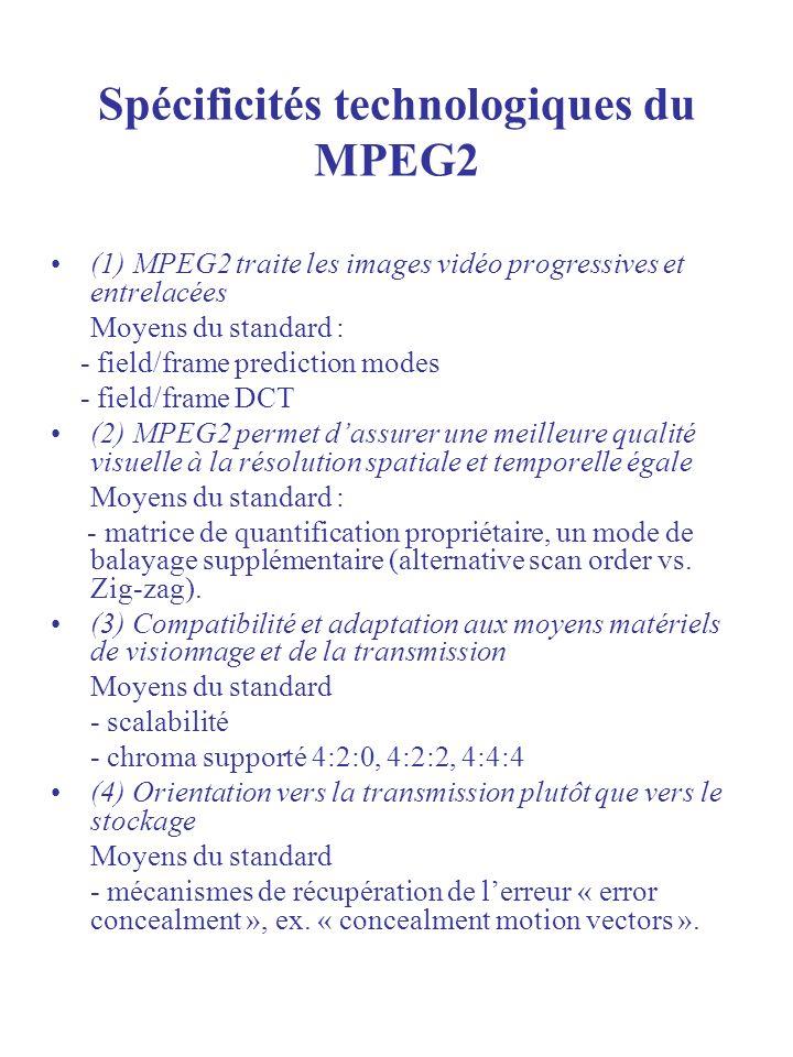 Spécificités technologiques du MPEG2