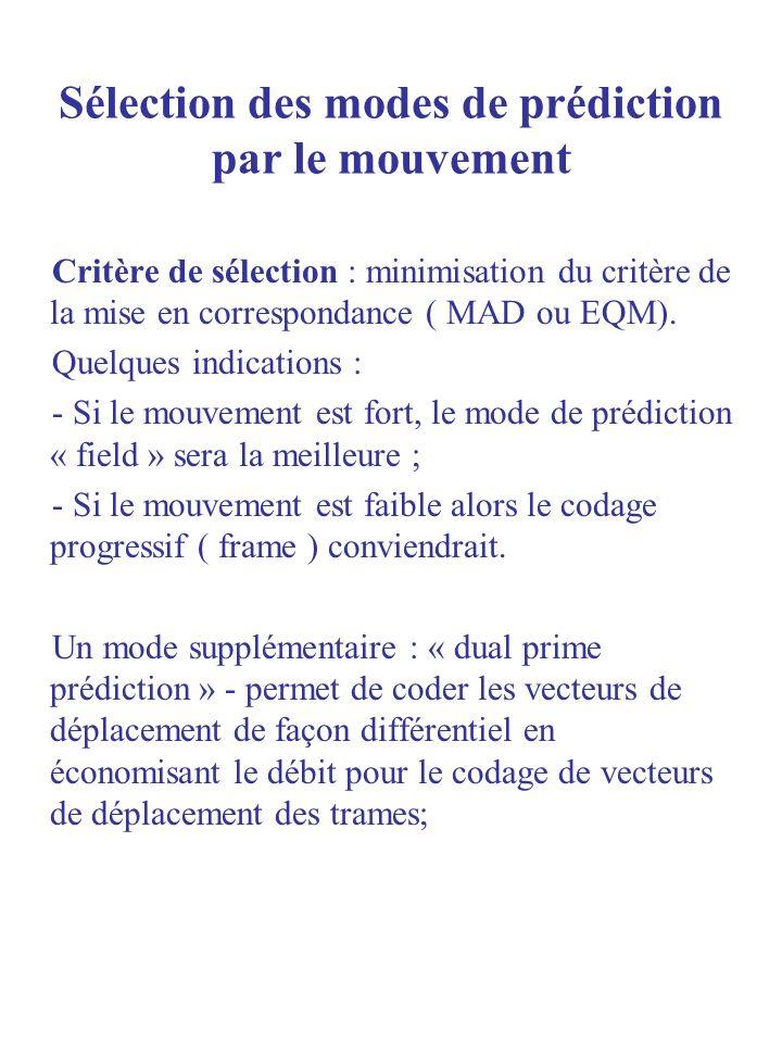 Sélection des modes de prédiction par le mouvement