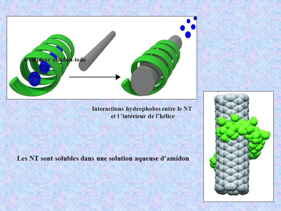 Les NT sont solubles dans une solution aqueuse d'amidon