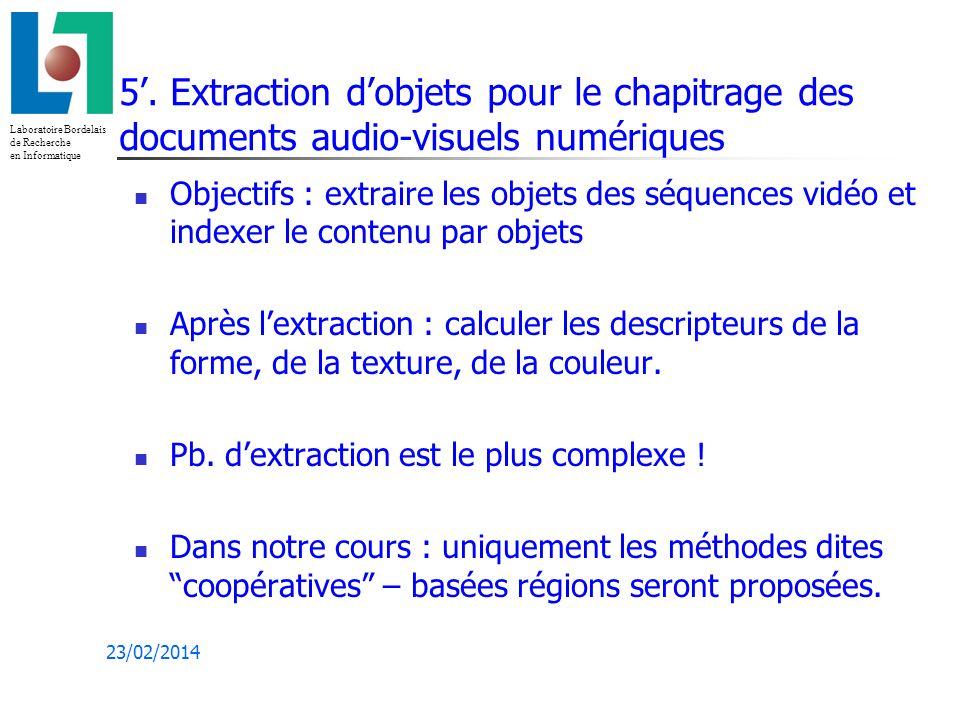 5'. Extraction d'objets pour le chapitrage des documents audio-visuels numériques