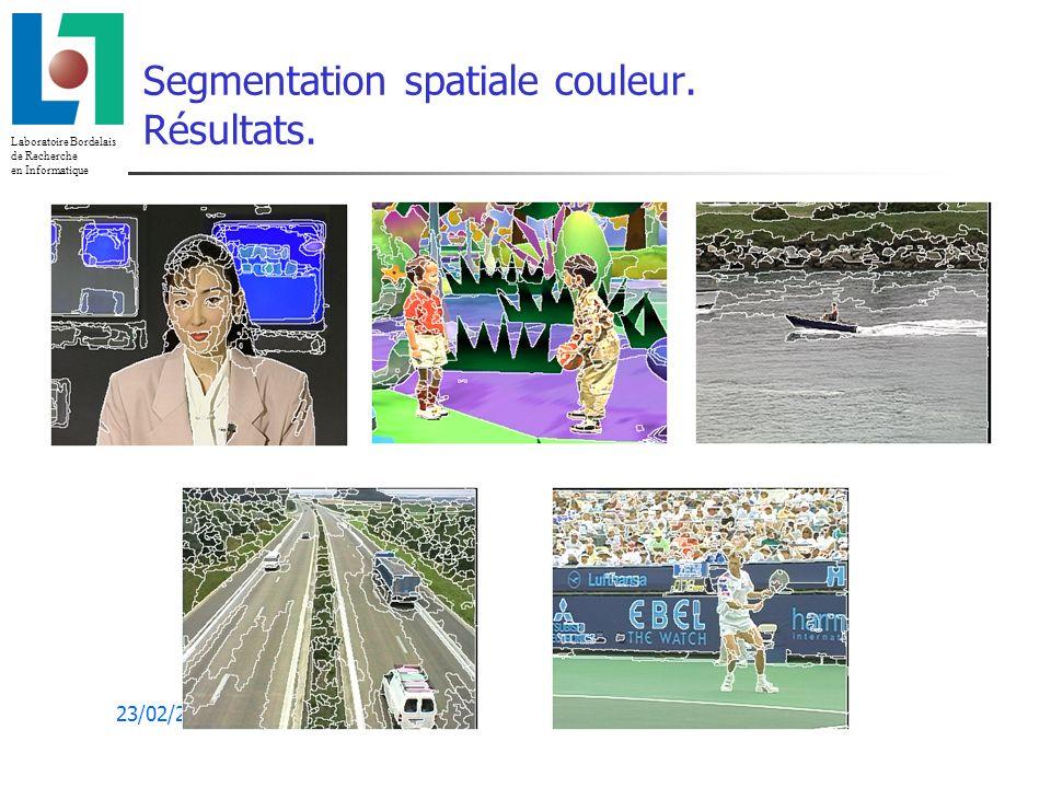 Segmentation spatiale couleur. Résultats.