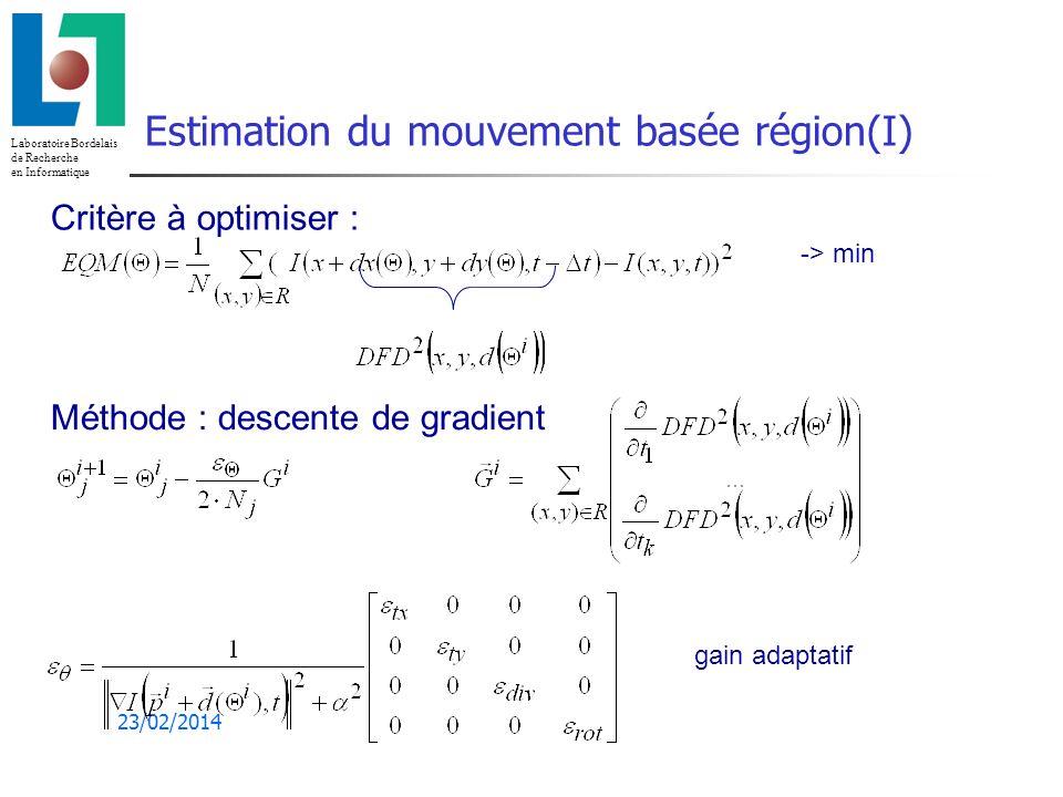 Estimation du mouvement basée région(I)