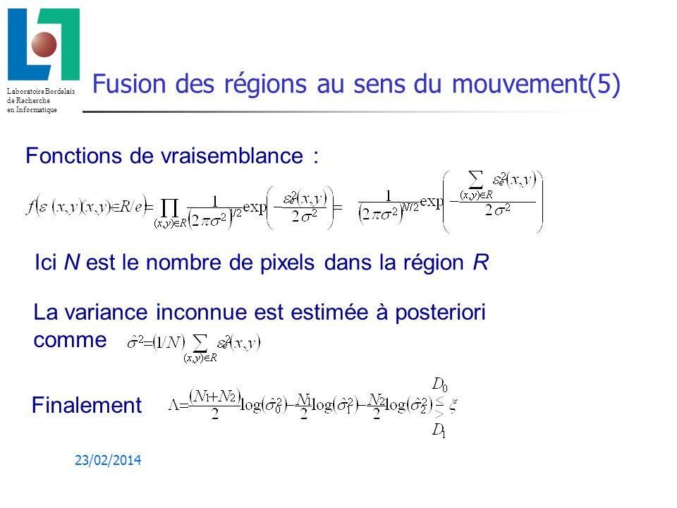 Fusion des régions au sens du mouvement(5)