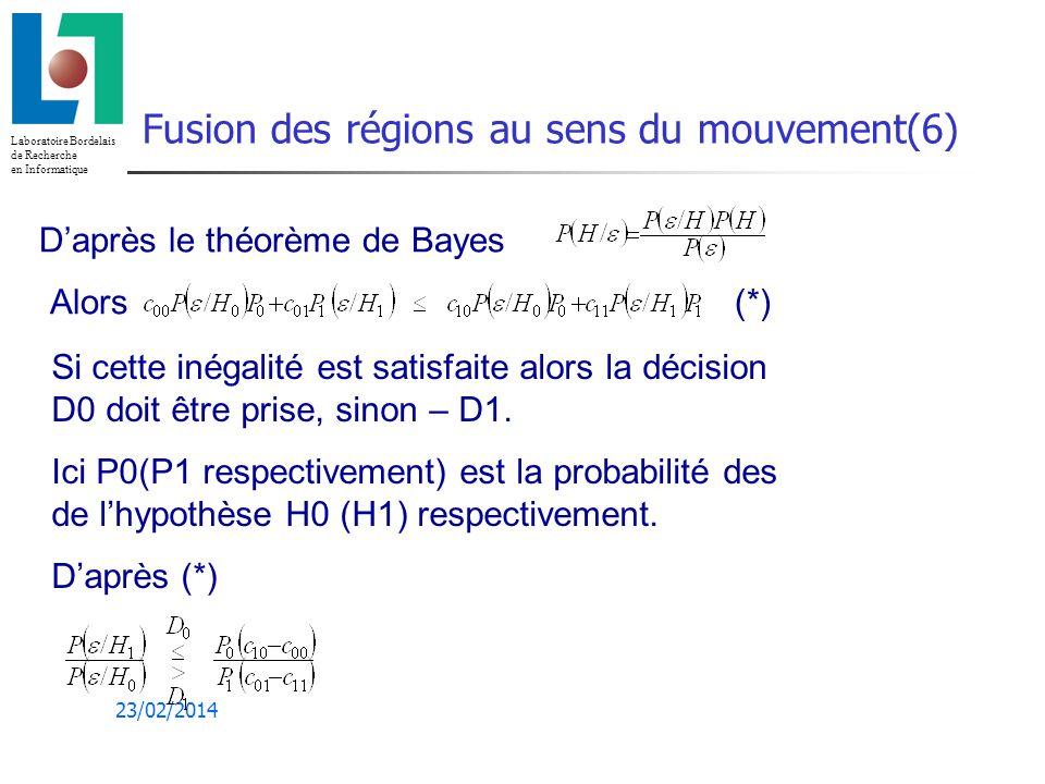 Fusion des régions au sens du mouvement(6)