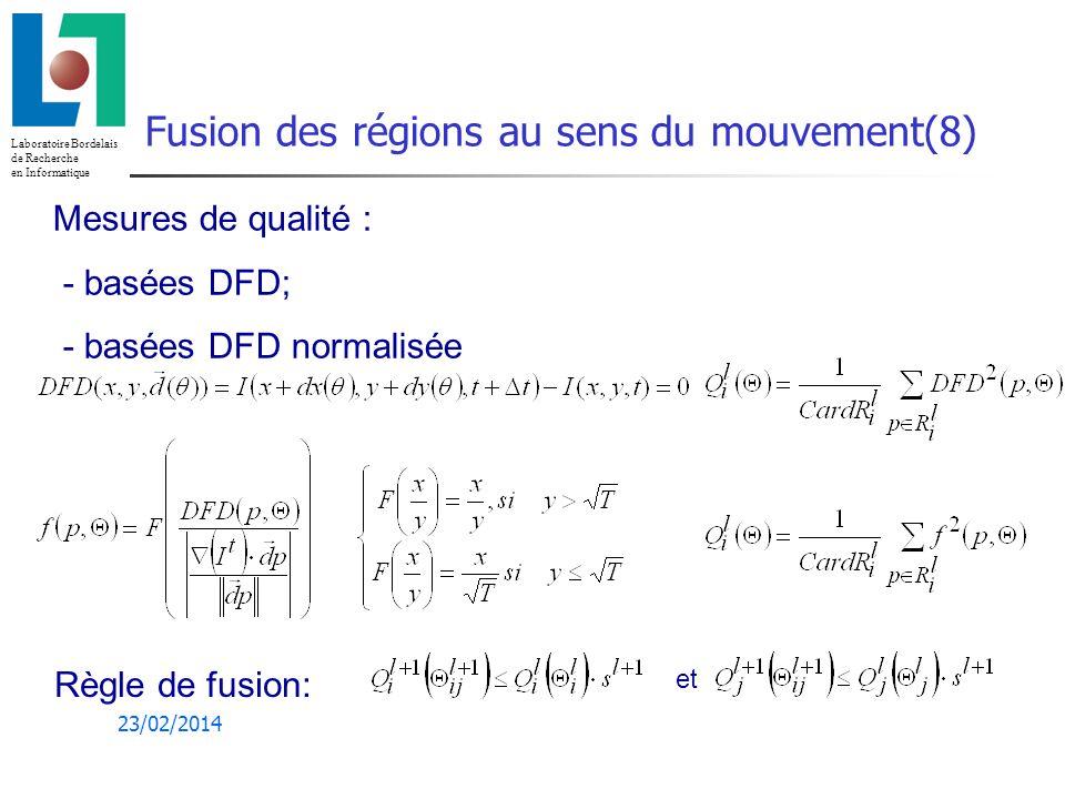 Fusion des régions au sens du mouvement(8)