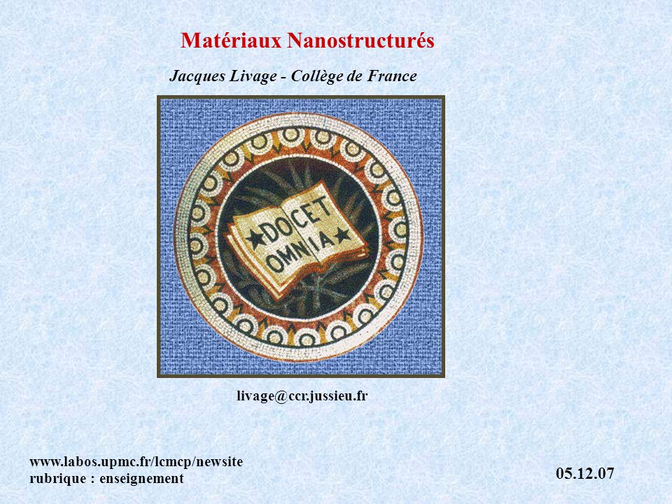 Matériaux Nanostructurés