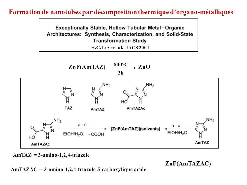 Formation de nanotubes par décomposition thermique d'organo-métalliques