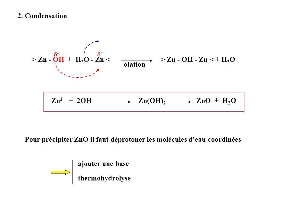 > Zn - OH + H2O - Zn < > Zn - OH - Zn < + H2O