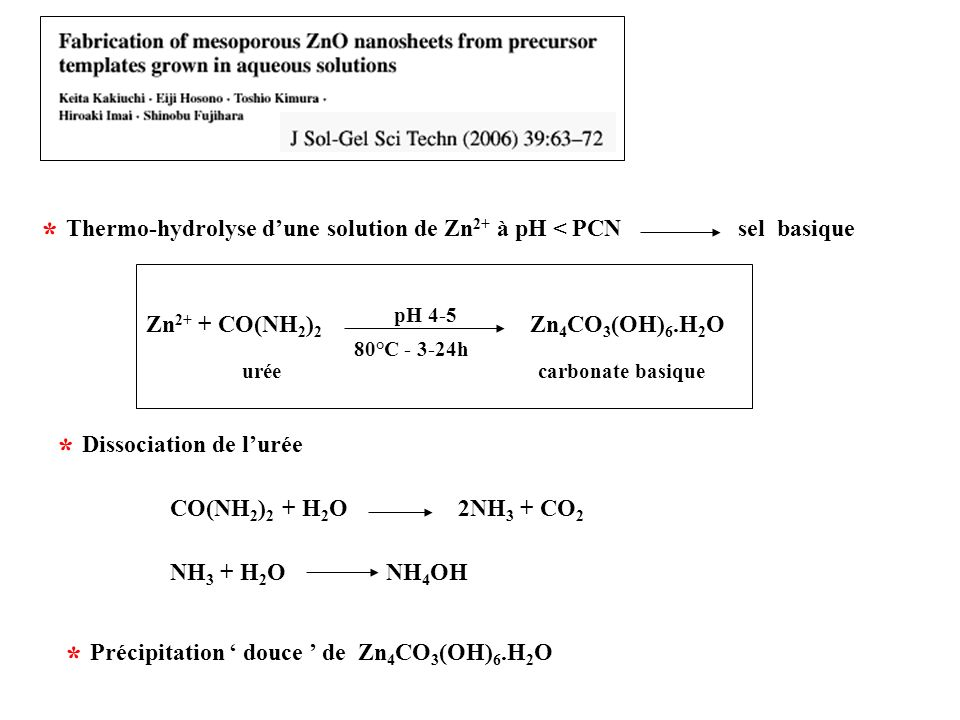 Thermo-hydrolyse d'une solution de Zn2+ à pH < PCN sel basique