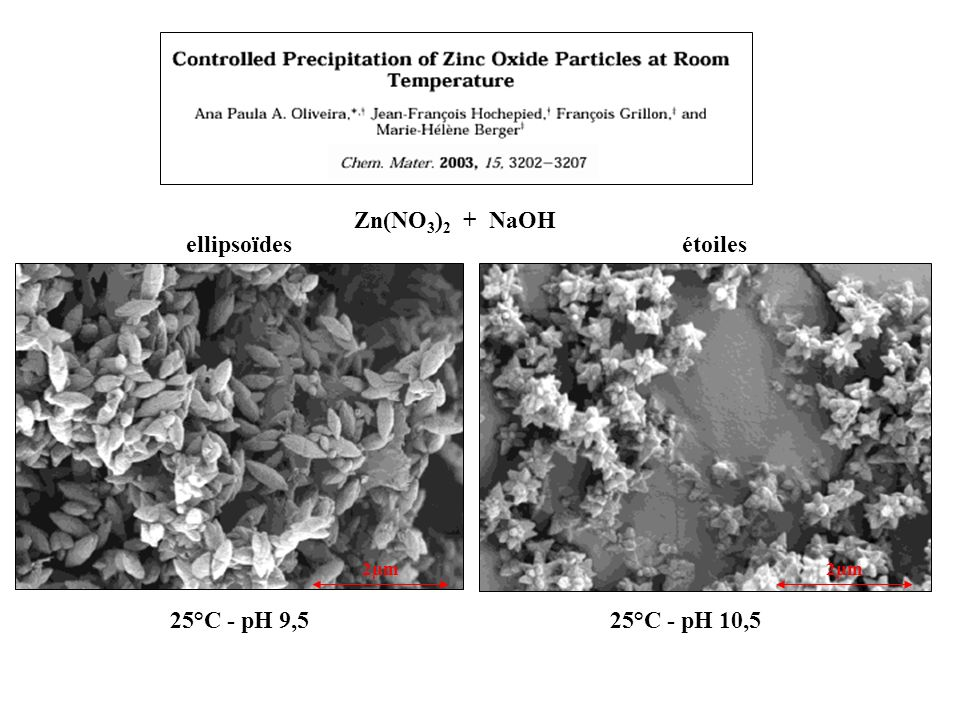 Zn(NO3)2 + NaOH 2µm 25°C - pH 9,5 25°C - pH 10,5 ellipsoïdes étoiles