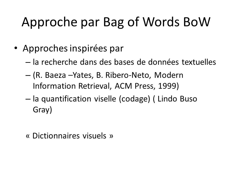 Approche par Bag of Words BoW