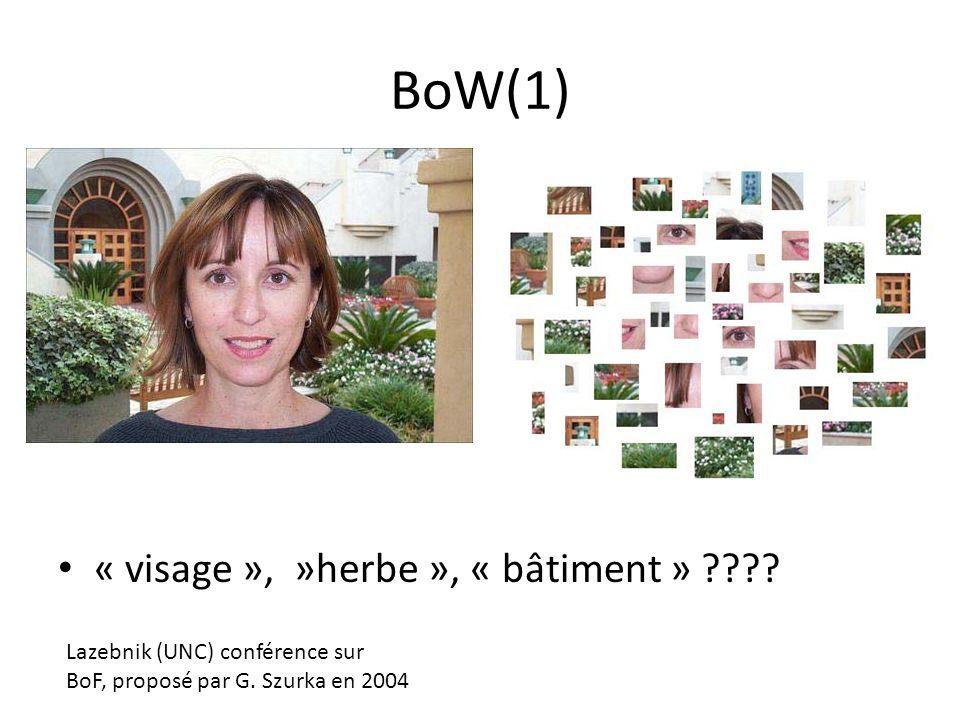 BoW(1) « visage », »herbe », « bâtiment »