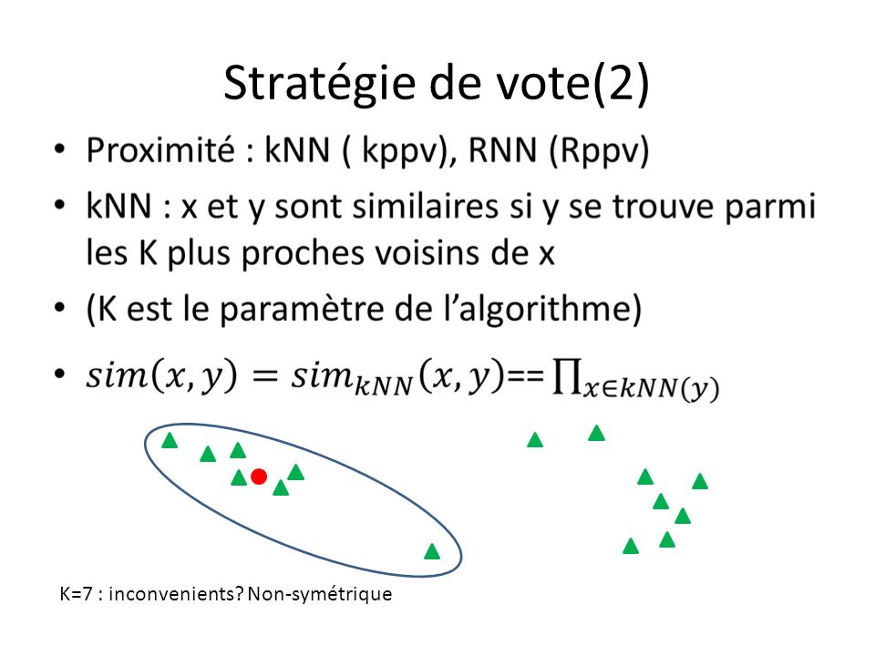 Stratégie de vote(2) K=7 : inconvenients Non-symétrique