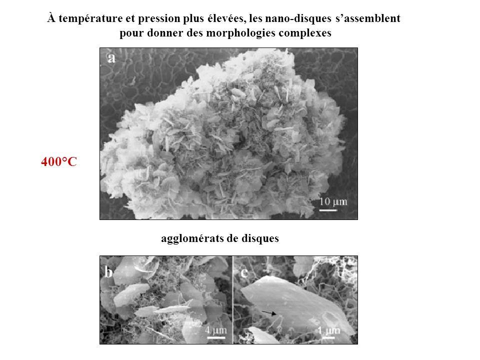À température et pression plus élevées, les nano-disques s'assemblent
