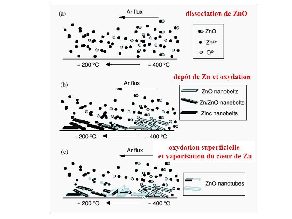 oxydation superficielle et vaporisation du cœur de Zn