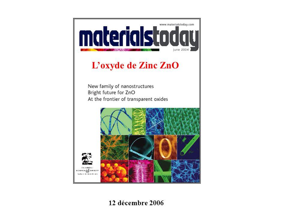 L'oxyde de Zinc ZnO 12 décembre 2006
