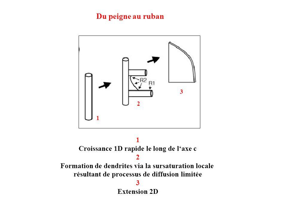Du peigne au ruban 1 Croissance 1D rapide le long de l'axe c 2