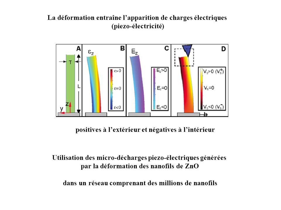 La déformation entraîne l'apparition de charges électriques