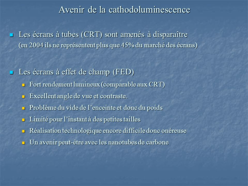 Avenir de la cathodoluminescence