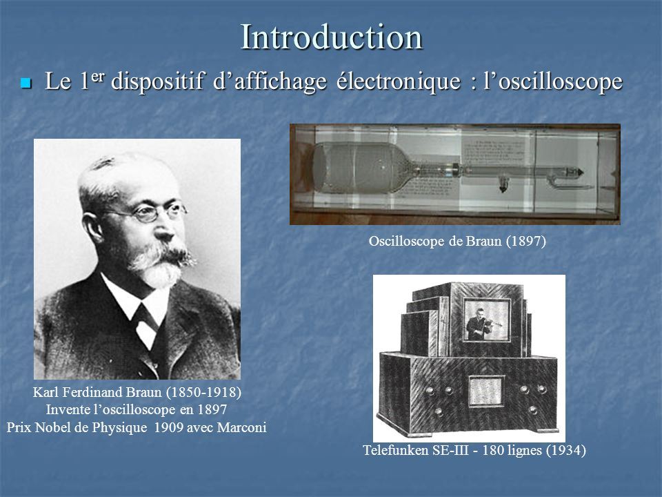 Introduction Le 1er dispositif d'affichage électronique : l'oscilloscope. Oscilloscope de Braun (1897)