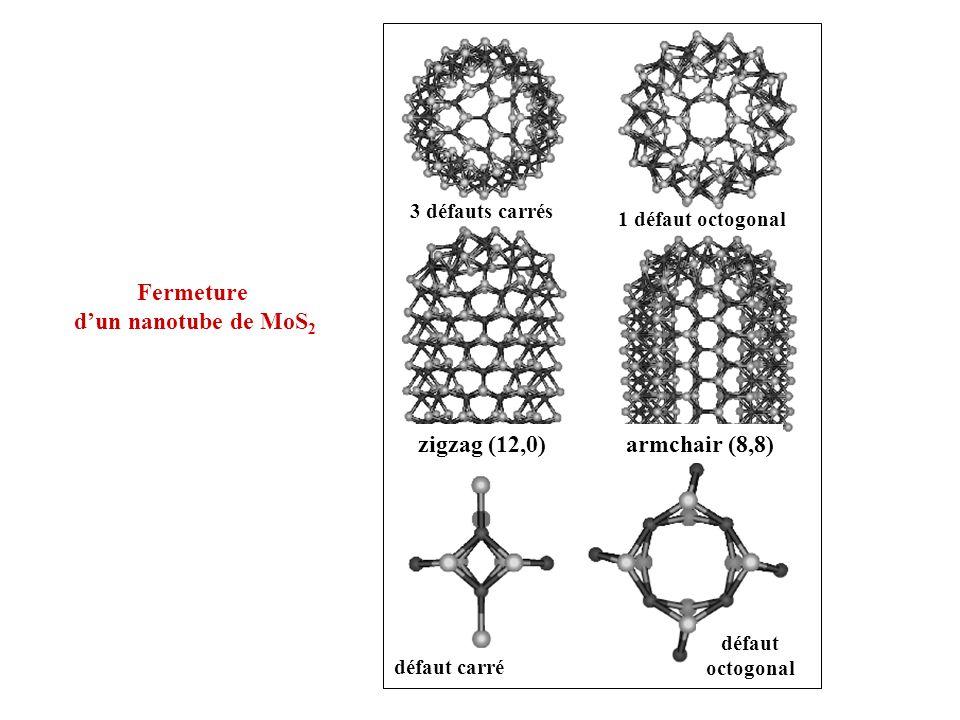 Fermeture d'un nanotube de MoS2